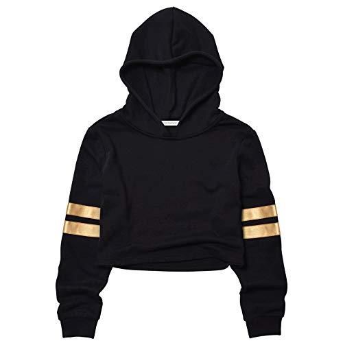 Girls Long Sleeve Sweatshirts Cropped Sweatshirts Crop Top Hoodie Gold 10t 11t