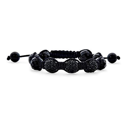 Bling Jewelry Allanar Negro Bola De Cristal Pulsera Shamballa Inspirado para Mujer Y para Los Hombres Cordón Negro Ajustable De Cadena