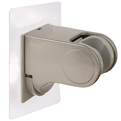 iFearClear Shower Head Holder-Adjustable & Stick Shower Head Wall Mount Bracket with 2 Holes, Handheld Showerhead Holder for Bathroom Showerhead &Bidet Sprayer Self Adhesive Bracket- Brushed Nickel