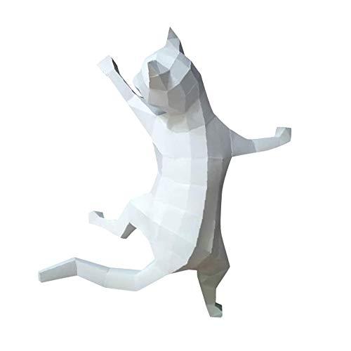 perfk Papel 3D Animal de Construcción Artesanal de Papel Modelo de Gato Decoración Juguetes de Bricolaje Juguetes para Adultos Juguetes para Adolescentes - Blanco, Individual