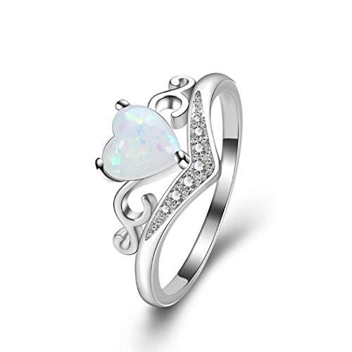 Kemanner Anello Love Heart per gioielli da donna in argento con zirconi chiari Anelliere