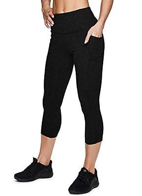 RBX Active Women's Fashion High Waist Lightweight Cotton Spandex Workout Yoga Capri Legging with Pockets Solid Black L