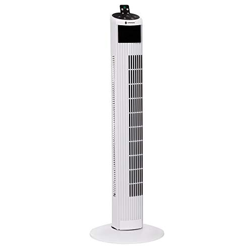 Ventilador de torre SPRINGOS | Blanco | 50 W | G: 74 cm | Pie ? 27,5 cm | 90° oscilante | 3 velocidades | Ventilador de columna | Panel táctil | Ventilador de columna