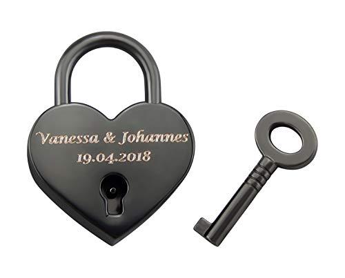 Hanessa Liebesschloss Graviertes Herz Vorhänge-Schloss mit Schlüssel mit Ihrer Gravur Hochzeitstag Jahrestag Geschenkidee Namensgravur in Schwarz