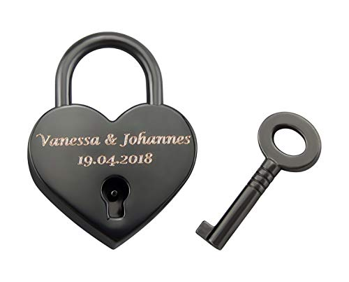 Hanessa graviertes Corazón Candado Amor con tu Grabado Aniversario Aniversario Regalo Idea Nombre Grabado en Negro