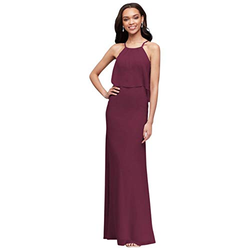 David's Bridal Flounced Crinkle Chiffon Sheath Bridesmaid Dress Style F19773, Wine, 4
