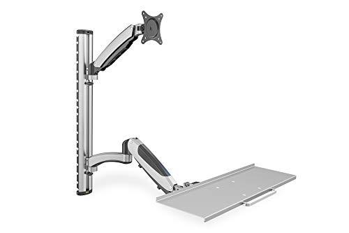 DIGITUS Soporte para Monitor y Bandeja para Teclado - Soporte de Pared- 1 Monitor - hasta 2X 6 kg - VESA 75x75, 100x100 - negro / plata