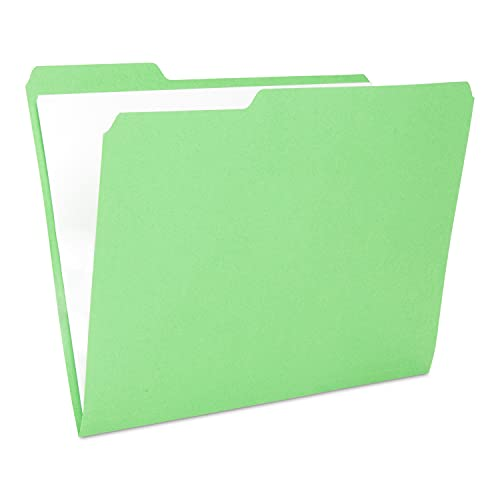 The File King 1/3-Cut Top Tab Green File Folder | Letter Size | Box of 100 | Made in The USA | Assorted Tab Positions | 11-Point Fiber Construction | Organize Home or Office