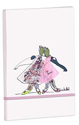 Clairefontaine 115622C – Un bloc de compras Retournel de 50 hojas extraíbles 8 x 12 cm, 90 g, color blanco liso, cubierta de papel de dibujo de grano motivo aleatorio