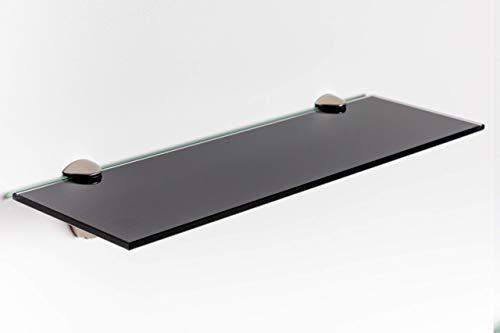 Elisando Glasregal schwarz 30 x 20 cm | 6 mm stark | Wandregal mit Halterung | Glasablage...
