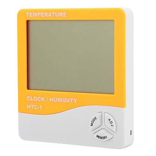 ANENG HTC-1 LCD termómetro Digital higrómetro Temperatura Interior medidor de Humedad Reloj (Azul/Verde/Naranja)(Orange)