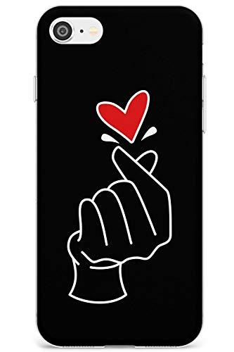 Finger Cuore in Black - a Mano Icone Gesto Slim Cover per iPhone 7 Plus TPU Protettivo Phone Leggero con Mano Gesto K-Pop Amore Coreano
