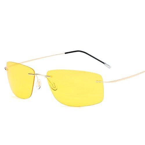 MinegRong mit Fall polarisiert Titan Silhouette Sonnenbrillen Polaroid Gafas Men Square Sonnenbrillen Sonnenbrillen für Männer Frauen, ZP 5447 mit Case C7