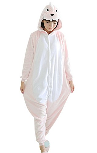 FEOYA - Enfant Filles Garçons Pyjamas Grenouillère Dinosaure Cosplay Costume Onesie Animal en Flanelle - Combinaison Animaux Costume Cosplay Pyjama - Rose - Taille M