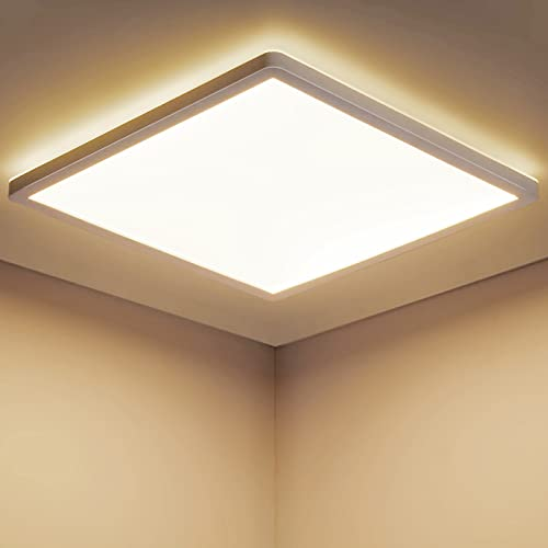 LED Deckenleuchte Warmweiss STANBOW 18W Deckenleuchte Flach 2700K, 1600LM, IP44 Led Deckenlampe Wohnzimmer/ Schlafzimmer/Badezimmer/Balkon/Küche/Flur/Keller/, Led Lampen Decke 295 x 295 x 25 mm