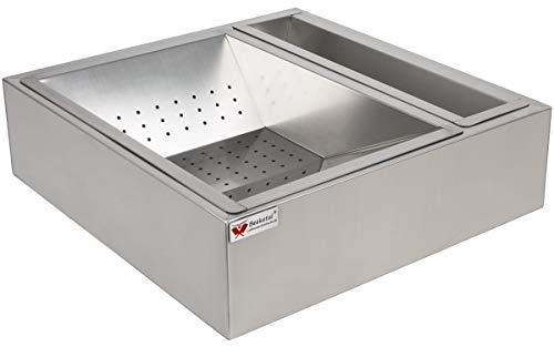 Beeketal 'BPAS-2' Profi Gastro Pommes Abtropfschale aus Edelstahl 3-teilig (Frittierseiher Grundgestell, entnehmbares Pommessieb und Ablagebehälter) - Außenabmessung (L/B/H): ca. 520 x 490 x 145 mm
