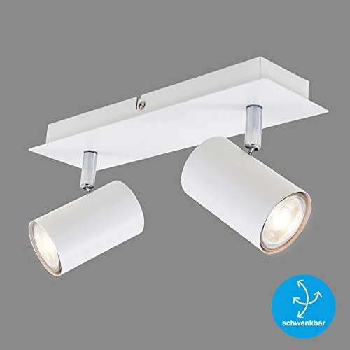 Briloner Leuchten Plafoniera LED da soffitto con 2 faretti direzionabili e Regolabili – Compatibile con lampadine GU10 di Max. 40 Watt – Ideale per so W, Bianco