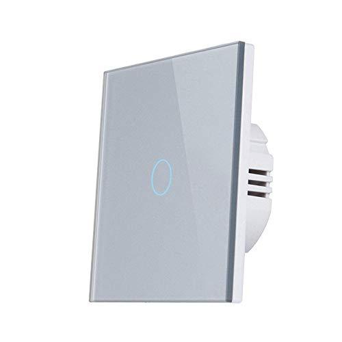 Interruptor táctil de pared anti-dactilar proceso panel de vidrio templado estándar AC110V-240V interruptor de luz de la luz Interruptor Luz Pared (Color : 1gang Grey, Standard : 1)