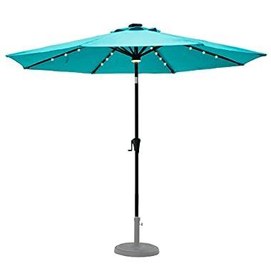 C-Hopetree 9' Patio Umbrella with Solar LED Lights, 8 Rib Outdoor Patio Market Umbrella with Crank Winder, Auto Tilt, Aqua Blue
