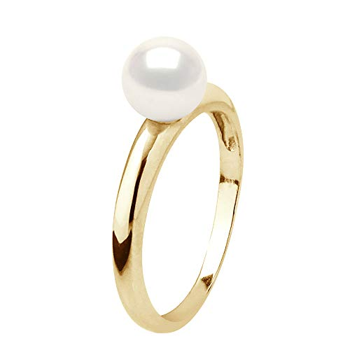 Pearls & Colors - Ring Genuine Round Shaped 6-7 mm Freshwater Cultured Pearl – Natural White – AAA+ Quality – Available in Yellow Gold and White Gold – Women's Jewellery