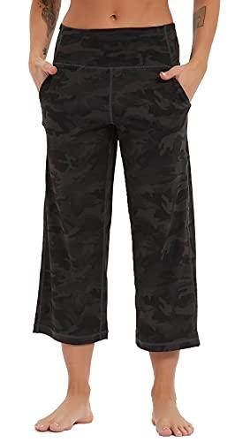 Tiricky Women's Workout Yoga Capris Pants Tummy Control High Waist Flare Pants Lounge Bootleg with Side Pockets Black Camo