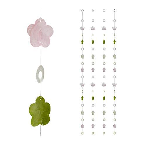 Relaxdays Capiz Girlande 4er Set, für Fenster, Balkon, Tür, Muschelplättchen Vorhang, Dekoketten 180cm, Blume, rosa-grün, 4 Stück