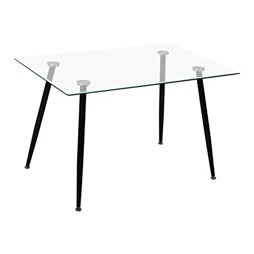 SKLUM Mesa de Comedor Rectangular en Cristal y Acero (120x80 cm) Lahs Acero - Cristal Brillante Negro - (Elige Color)