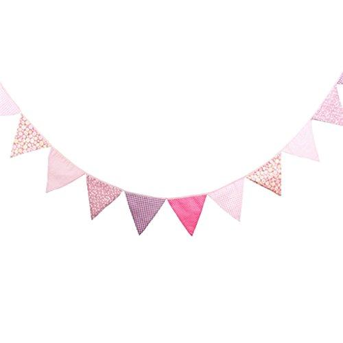 Gazechimp 3.2m Dreieck Wimpelkette mit 12 Schöne Blumen Flagge , Wimpel Girlande aus Baumwolle für Weihnachten Hochzeit Geburtstag Haus Dekor , 16x16x16cm - Rosa