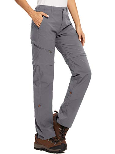 Damen-Zip-Off-Wanderhose-Trekkinghose Atmungsaktiv Schnell Trockend Outdoorhose Abnehmbar Funktionshose Stretch Sommer Hosen #2192 Gray-30
