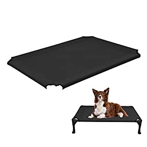 Veehoo Cooling Elevated Dog Bed Replacement Cover, Washable & Breathable Pet Cot Bed Mat, Medium, Black