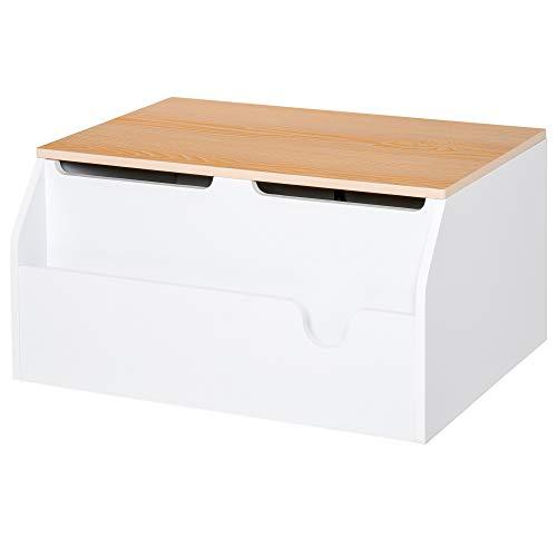 HOMCOM Wooden Kids Children Toy Box Storage Chest Organizer Book Slot Safety Hinge Playroom Furniture White