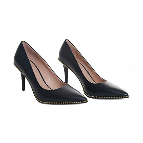COACH 85 mm Waverly Pump with Beadchain Black Leather 8.5