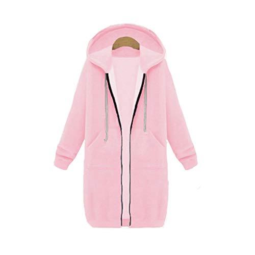 Sudaderas Jersey Sweater Otoño Invierno Cremallera Sudaderas con Capucha Largas Abrigo Mujer Manga Larga Sudadera De Gran Tamaño Tops Moda Vintage Sudaderas Outwear S Pink-1