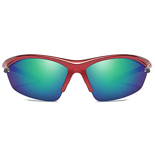 Raxinbang Gafas de Sol Gafas De Sol De Medio Cuadro for Montar En El Exterior, Material for PC, Gafas De Sol Rojas, Lentes Azules/Verdes, Lentes De Deporte Polarizadas for Hombres (Color : Green)