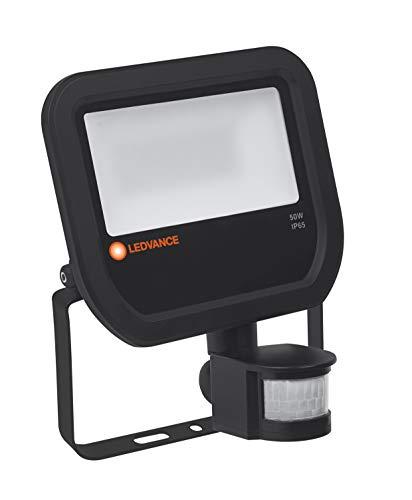 Ledvance LED Fluter | Flutlicht-Leuchte für Außenanwendungen | Warmweiß | 251,0 mm x 216,0 mm x 122,0 mm | FLOODLIGHT SENSOR 50 Black, 4058075143579, Schwarz