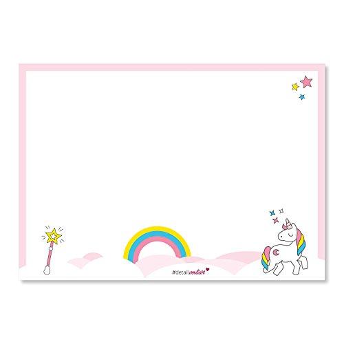 Schreibtischunterlage mit Einhorn-Motiv und Regenbogen in DIN A3 I rosa weiß I aus Papier zum Abreißen I für große und kleine Mädchen I dv_105