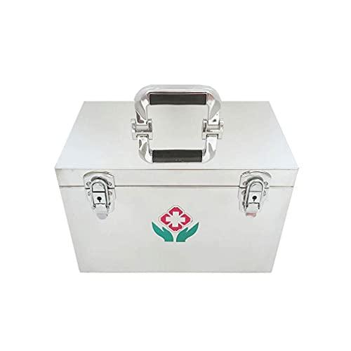 QIXIAOCYB Caja de Almacenamiento Caja de Medicina de Acero Inoxidable Caja de Almacenamiento de Medicina Multicapa doméstica Caja de Almacenamiento de Gran Capacidad Portátil (Size : 16 Inch)