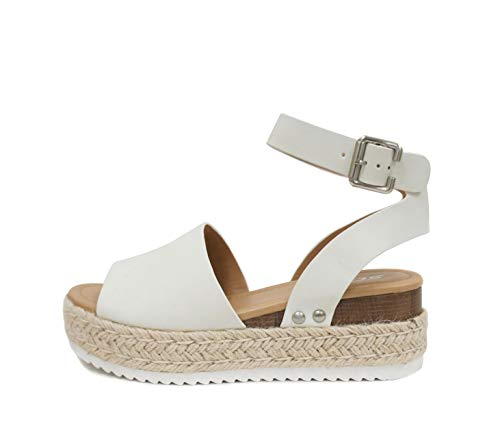 Soda Topic Open Toe Buckle Ankle Strap Espadrilles Flatform Wedge Casual Sandal (9, Off-White)
