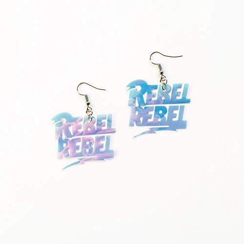 Rebel rebel pendientes - Destellos holográfico - Rayo Colgantes - Joyas Ziggy Stardust - Pendientes David Bowie - Regalo joyería para ella