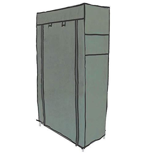 PrimeMatik - Armario ropero y Zapatero de Tela Desmontable 60 x 30 x 128 cm Gris con Puerta Enrollable