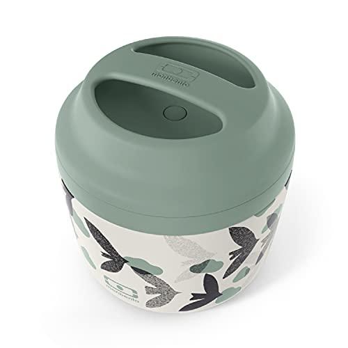 monbento - MB Element Graphic Birds Oiseaux lunch box isotherme vert - Boîte bento qui garde votre repas chaud - sans BPA - durable et sûre
