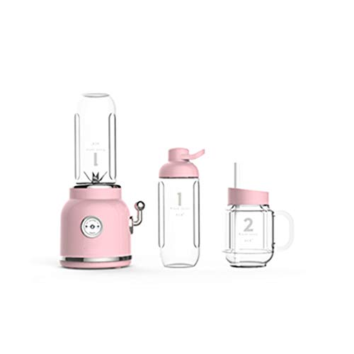 FENG&HE Juice Blender, Personal Blender With Grinder And Food Processor, Multi Mini Juicer Smoothie Maker, 6 Stainless Steel Blades, 500ml Tritan Potable Bottle, 300w,Pink