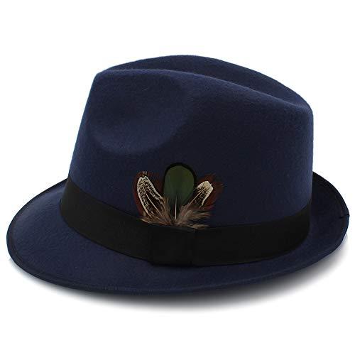 No-branded HOUJHUS Sombrero de Fieltro de los Hombres Sombreros de Fieltro de Lana Vintage con Plumas Otoño Invierno de ala Ancha Caballero Jazz (Color : Azul Oscuro, Size : 56-58cm)