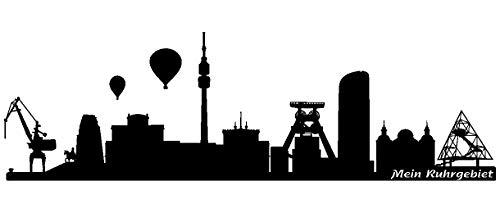 Samunshi® Wandtattoo Ruhrgebiet Ruhrmetropole in 5 Größen und 19 Farben (120x36cm schwarz)