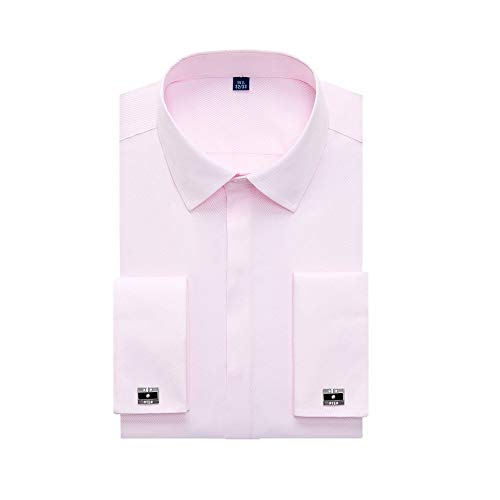 WJFGGXHK Herren Hemden,Regular Fit Hidden Placket Französische Hemden Für Männer Langarm Gestreiftes Herrenhemd Geschenk 1 Paar Manschettenknöpfe Rosa Revershemd, L.