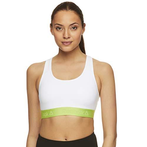 Reebok Women's Wireless Racerback Sports Bra - Medium Impact Athletic Active Fitness & Gym Bralette w/Keyhole Cutout, White/Green, L