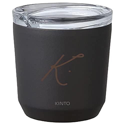 [名入れ無料] KINTO キントー トゥーゴータンブラー 240ml TO GO TUMBLER 刻印 ギフト プレゼント グラス コップ マグ タンブラー (イニシャル(ドット), ブラック)