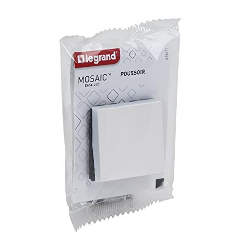 Legrand 538321 Interruptor empotrable – Gama Mosaic Easy 6 A 2 módulos – Centraliza la iluminación – Botón Puede Convertirse Luminoso o indicador añadiendo luz LED