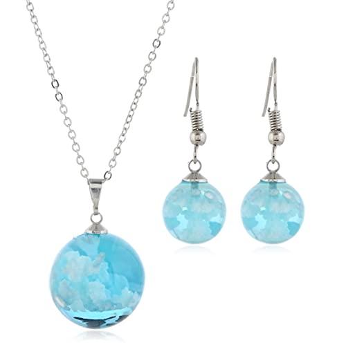 guodong Collar con Colgante De Luna De Bola De Resina Transparente para Mujer, Collar De Cadena De Nube Blanca Y Cielo Azul para Mujer, Regalos De Joyería De Moda para Niña