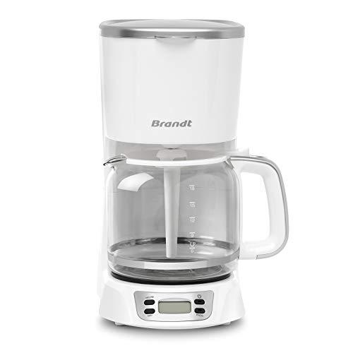 Brandt CAF1318ES - Cafetera de filtro eléctrico – Capacidad 18 tazas – Depósito – Jarra de cristal – Función de mantenimiento caliente 40 minutos, 1,8 camas, color blanco